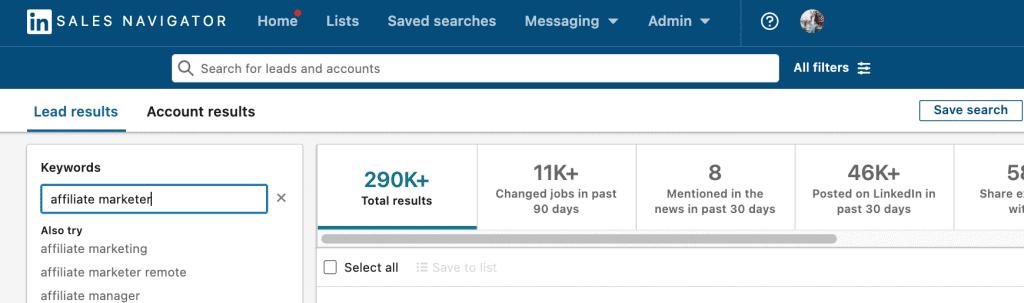 LinkedIn Sales Navigator for affiliate recruitment