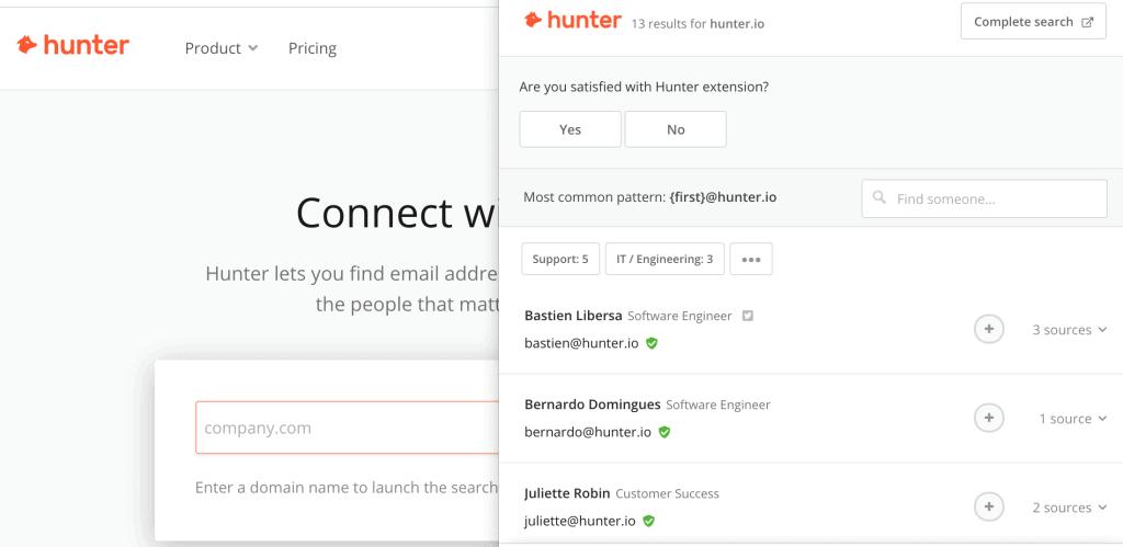 Hunter.io for affiliate recruitment