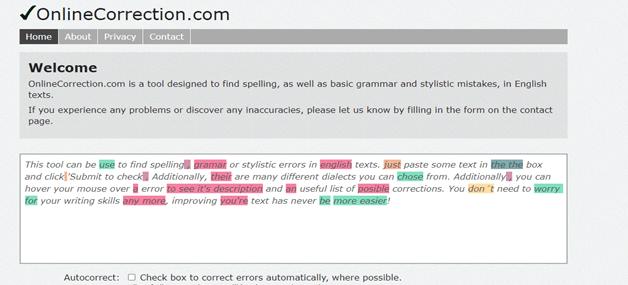 Online Correction grammar tool