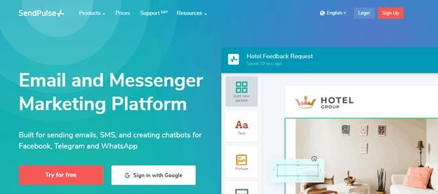 SendPulse for email marketing